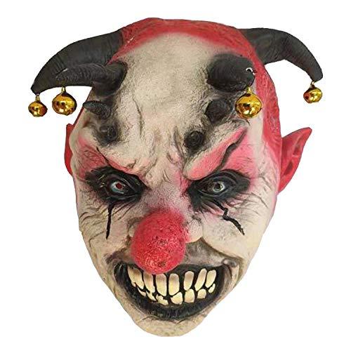 Halloween Masquerade Party Supplies Bell Clown Mask Horror Red Nose Clown Headgear ()