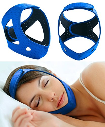 Anti Snoring Chin Strap Devices for Women&Men,Breathable Snore Stopper Reduction Adjustable Non Snoring Solution,Sleep Aid Device,CPAP Stop Snoring Solution/Support Belt/Brace/Headband/Mask (Blue)