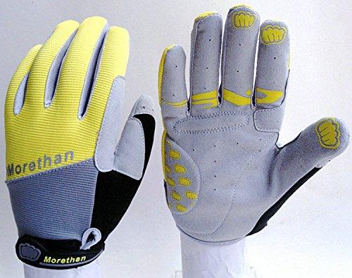 Bicycle Gloves Bike Gloves Mountain Cycling Gloves Full Finger Cycle Gloves Padded Silica Gel Grip Anti-slip, Motorcycle Biking Road Racing Riding Motorcross MTB BMX Sports Gloves. (Yellow, Large)