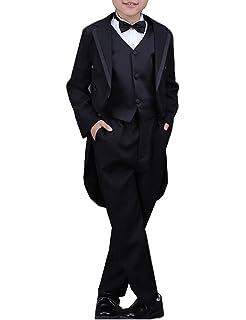 Bow Tie 5 Pieces Vest Pants Boys Tuxedo with Tail Suit Set Tailcoat Shirt