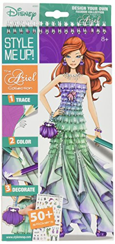 Style Me Up - Fashion Design Coloring Book for Girls and Boys. Great Present/Gift - Sticker Book with DIY tools - Disney the Ariel Collection - SMU-2001