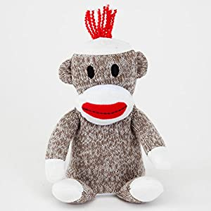 "Pip Squeeks Sock Monkey-Talks Back to You, Fun Sock Monkey, Recording Any Voice, Great Gift - Measures 6-1/2"" tall x 5"" wide"