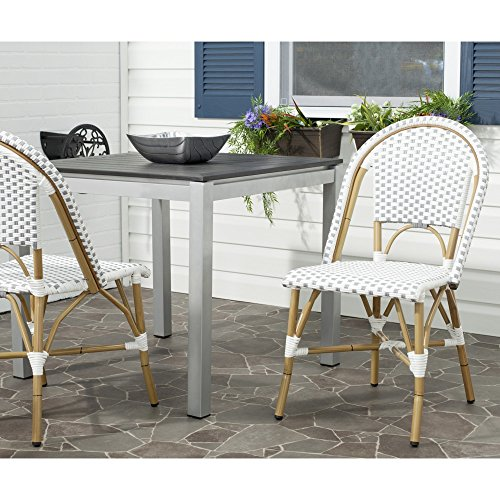 Safavieh Home Collection Salcha Grey and White Indoor Outdoor Stacking Side Chair Set of 2