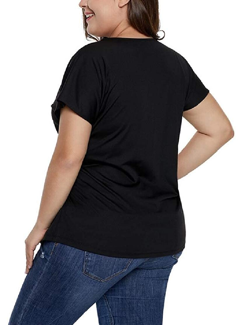 CYJ-shiba Womens Plus Size Shirt Hemline Tunic Short-Sleeve Casual Tops