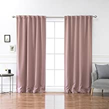 """Best Home Fashion Premium Thermal Insulated Blackout Curtains - Back Tab/ Rod Pocket - Mauve - 52""""W x 84""""L - (Set of 2 Panels)"""