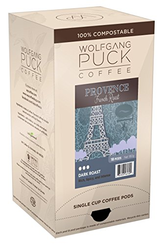 (Wolfgang Puck Coffee, Provence French Roast Gram Coffee, 9.5 Gram Pods, 18 Count)