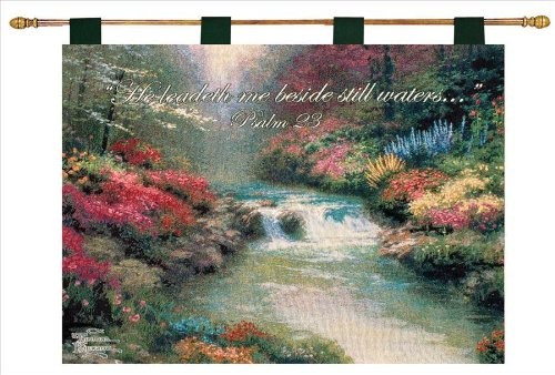 Manual Inspirational Collection Wall Hanging and Finial Rod, Beside Still Waters with Verse by Thomas Kinkade, 36 X 26-Inch