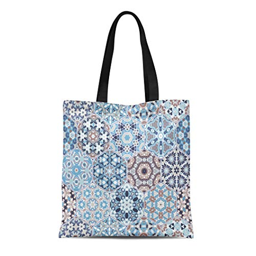 Semtomn Cotton Canvas Tote Bag Rich of Hexagonal Ceramic Tiles in Shades Blue Reusable Shoulder Grocery Shopping Bags Handbag Printed
