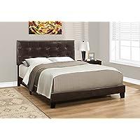 Monarch Specialties I 5922Q Bed Size/Dark Leather-Look, Queen, Brown