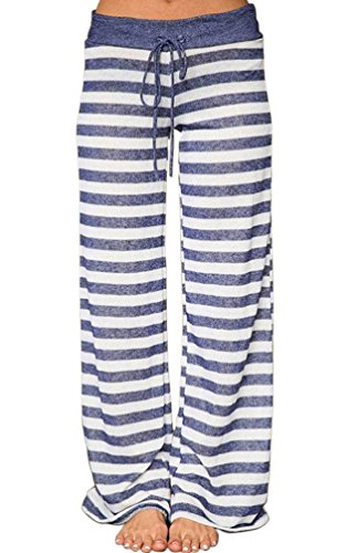 AMiERY Women's Pajamas Bottoms Lounge Pants Womens Cotton Comfy Striped Casual Palazzo Sleepwear Pajama Pants (M, Blue Striped)