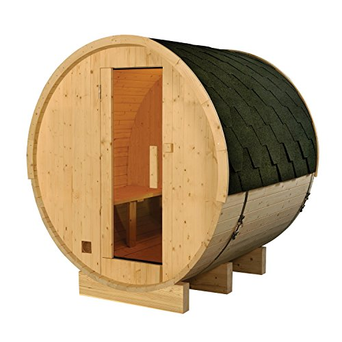 ALEKO SB6PINE 6 Person Outdoor and Indoor White Pine Wood Wet Dry Barrel Sauna with Bitumen Roofing and 6.0 KW ETL Electrical Heater by ALEKO