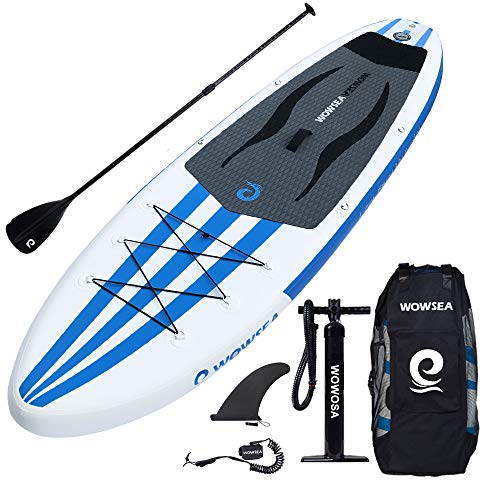 WOWSEA iSUP Inflatable 11' Stand Up Paddle Board Package Includes Adjustable Paddle Travel Backpack Coil Leash for Youth and Adult (11 Feet Blue and White)]()