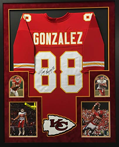 Tony Gonzalez Kansas City Chiefs Autograph Signed Custom Framed Red Jersey Suede Matted JSA Witnessed Certified ()