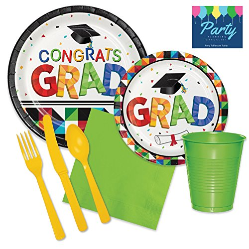 2017 Graduation Party Supply Pack for 50 Guests - Bundle Includes Paper Plates, Napkins, Plastic Cups + Cutlery