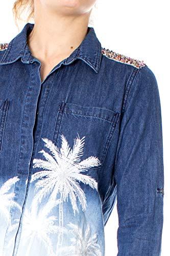 19swcd06 Desigual Island White Denim lunghe maniche Cam Camicia a Swz606
