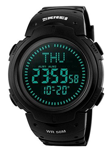 Gosasa Men's Watch Sports Digital Compass Survival 50M Waterproof Stopwatch Alarm (Black)
