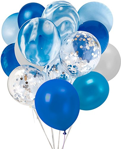 Confetti Latex Balloons, 20Pcs Blue and Sliver Biodegradable Party Balloon for Wedding Decoration -