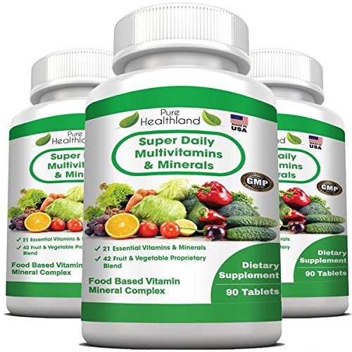 Food Based Super Daily Multivitamin Supplement Tablets for Adult Men Women Seniors with 42 Natural Fruits Vegetables Blend, 21 Essential Vitamins Minerals. Boost Immune System and Energy! - 3 Bottles ()