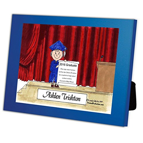 Personalized Friendly Folks Cartoon Caricature in a Color Block Frame Gift: Graduation - Female Great for high school, college, tech school graduation by Printed Perfection (Image #3)
