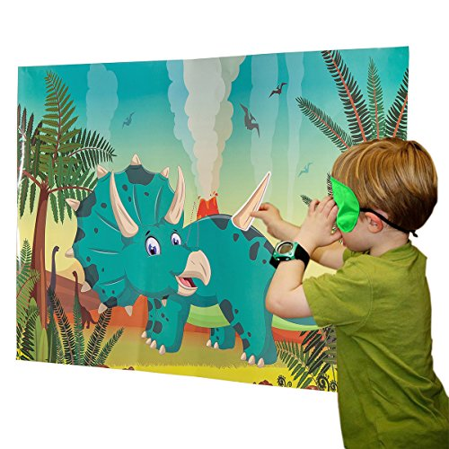 Funnlot Dinosaur Party Games for Kids Party Game for Boys Dinosaur Party Supplies Pin The Horn On The Triceratops Gifts for Dinosaur Lovers -