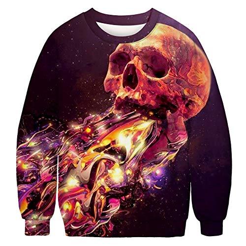 URVIP Unisex Ugly Christmas Sweater 3D Printed Halloween Pullover Sweatshirt Skull BFT-047 XXL