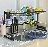 Over Sink(33.7') Dish Drying Rack, Kitchen Drainer Counter Organizer Supplies Shelf Storage Stainless Steel Display Utensil Holder Space Saver.(Sink size ≤ 33.7 inch, Black)
