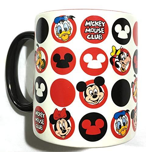Disney Mickey Mouse Club Mug,Mickey Icon Pattern, Circles, Black Handle,ceramic,4