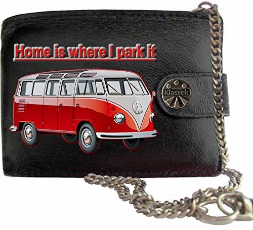 Rot Home is T1 VW Camper Klassek Herren Geldbörse Geldbeutel Portemonnaie mit Kette Volkswagon Wohnmobil Zubehör