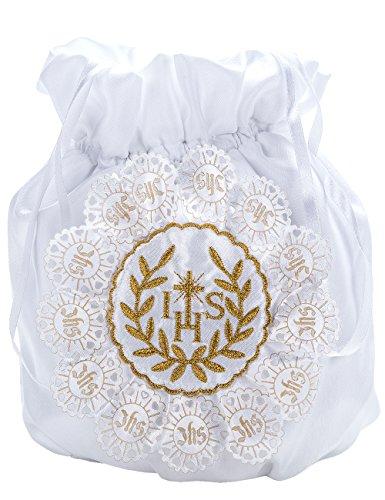 Princess Taufkleid Brauttasche aus Satin Weiß/Gold/Gold