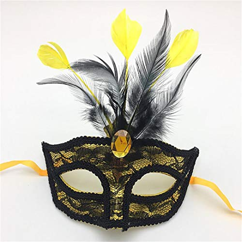 Premium Leather Feather Mask Masquerade Parties Halloween Parties