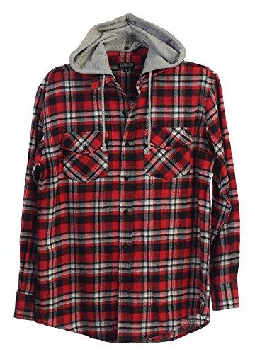 Gioberti Mens Removable Hood Plaid Flannel Button Down Shirt