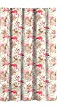 Pink and Tan Shower Curtain Flamingo Collection Fabric Shower Curtain: (Pink Tan White)