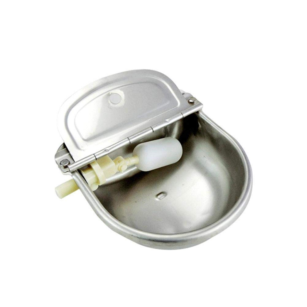 Heitaisi Stainless Steel Cattle Sheep Waterer, Automatic Drinking Bowl with Float Valve Farm Supplies