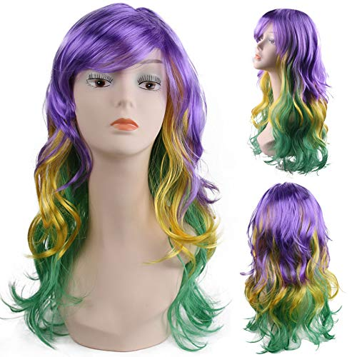 Inifty Lady's Long Curly Wig, 28 inch Tri-Color Wavy Wig for Girls Mardi Gras Party/Cosplay Party or Daily Use]()