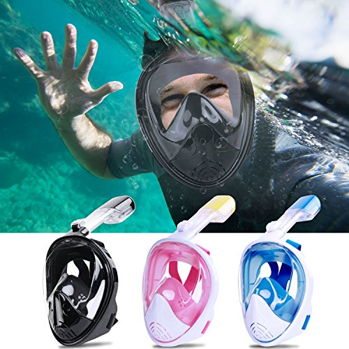 Greatever [2018 Newest Version] View Panoramic Snorkel Mask - Breathefree Full Face Snorkeling Mask with Detachable GoPro Mount, Dry Top Set Anti-Fog Anti-Leak for Adults&Kids(Black, L/XL)