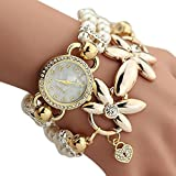 Women's Quartz Wrist Watches, SUPPION Womens Imitation Pearls Flower Luxury Watches