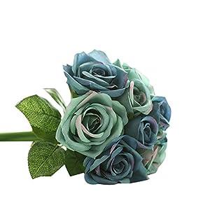 MaxFox 9 Heads Artificial Flowers, Silk Fake Rose Floral Bridal Holding Bouquet&Arrangement in Ceramic Decor Room (Dark Blue) 109