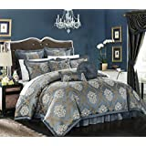 Chic Home 9 Piece Aubrey Decorator Upholstery Quality Jacquard Scroll Fabric Bedroom Comforter Set and Pillows Ensemble, King, Blue