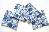 Indigo Blue Shibori Quilted Fabric Coaster Set