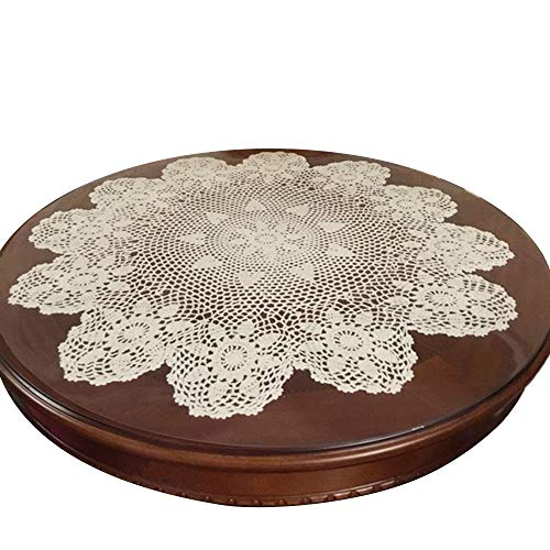 Laivigo New Handmade Crochet Lace Round Table Cloth Doilies Doily,24 Inch,Beige