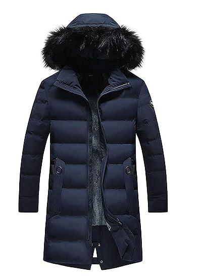 a73c1d80b0fe Ghope Herren WinterParka Lange Wintermantel mit Fellkapuze Gefüttert  Fleece-Futter Winterjacke Warm Steppjacke  Amazon.de  Bekleidung