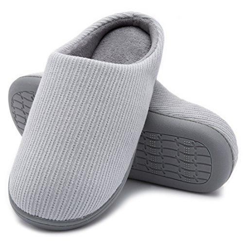 Hometop Confetto Da Donna Slip On Memory Foam Fodera In Spugna Francese Clog House Pantofole Interne 2018 Nuovo Stile - Grigio Chiaro