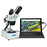 OMAX 20X-40X-80X Cordless Dual LED Lights Stereo Binocular Microscope with USB Digital Camera