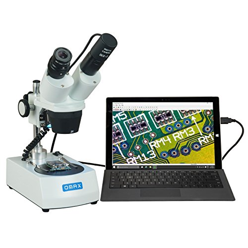 OMAX 20X-40X-80X Cordless Dual LED Lights Stereo Binocular Microscope with USB Digital Camera