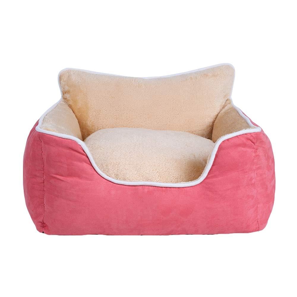 Pink 555820cm Pink 555820cm Pet nest mattress PU velvet PP cotton for kittens, etc. Pet nest (color   PINK, Size   55  58  20cm)