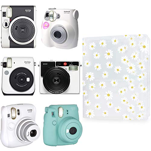 WOLVEN Mini Photo Album Compatible with Polaroid Fujifilm Mini 7s 8 8+ 9 25 26 50s 70 90 11 Film - (Flower)