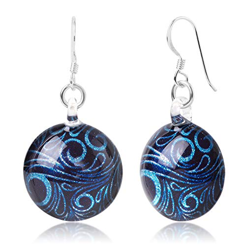 925 Sterling Silver Glass Jewelry Glittery Blue Abstract Art Curve Design Dangle Round Earrings