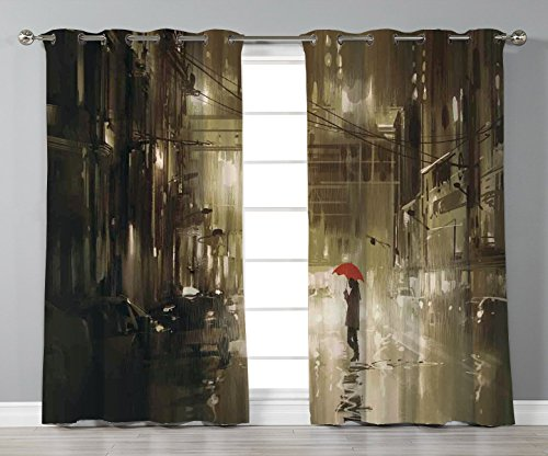 Thermal Insulated Blackout Grommet Window Curtains,Apartment Decor,Woman with Red Umbrella in Street at Rainy Night in Town Shadow Urban Scenery,Sepia,2 Panel Set Window Drapes,for Living Room Bedroom -