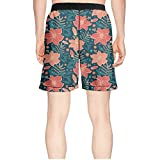 truye rrelk Patterned Vibrant Tropical Hibiscus Flowers Quick Dry Young Men Beach Short