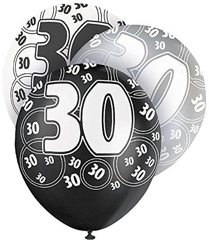 30 opinioni per Unique Party 80894 Palloncini Lattice per 30° Compleanno, Confezione da 6, Nero